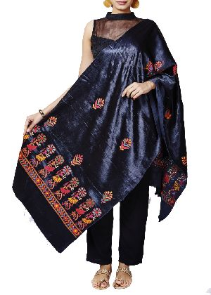 Black Mashru Hand Embroidered Dupatta