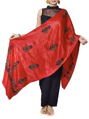 Blood Red Mashru Hand Embroidered Dupatta