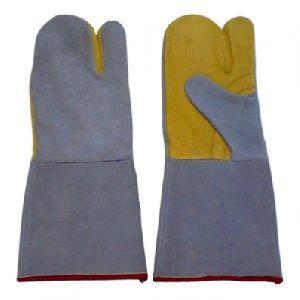 Cowhide Leather Welding Mitt Gloves / Professional Welding Safety Gloves
