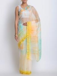 brasso contrast dyed saree