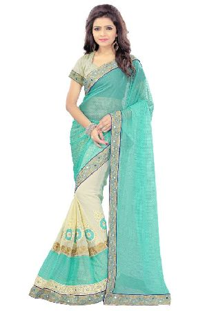 Georgette And Lycra Pallu Embroidery Sarees
