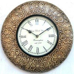 Golden Flower Work Wall Clock By Artmakeinindia