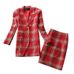Woolen Blazer & Skirt Set