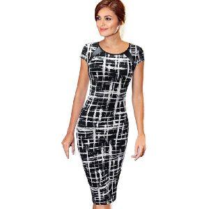 Women Pencil Style Silk Dress