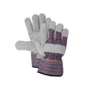 Double Layer Split Leather Palm Work Glove With Safety Cuff