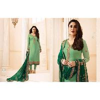Ladies Green Unstitched Suits