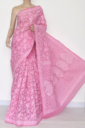 Onion Allover Hand Embroidered Lucknowi Chikankari Saree (with Blouse - Cotton)