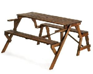Rustic Wood Convertible Garden Table