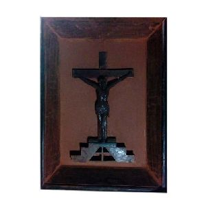 Wooden Cross Jesus Statue