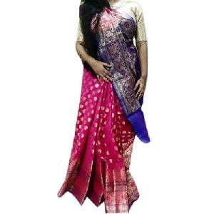 Blue And Pink Opara Silk Sarees