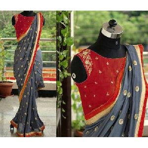 Grey And Red Embroidered Sarees