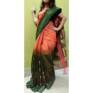 Green And Orange Handloom Dhakai Sarees