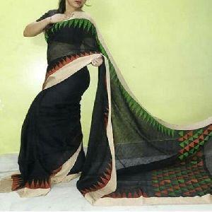 Black Jamdani Linen Sarees