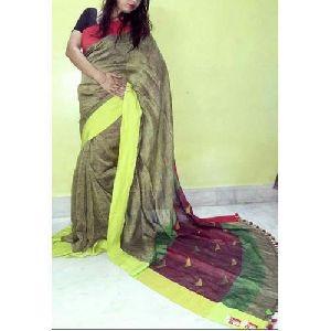 Multi Colored Jamdani Linen Sarees