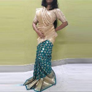 Green And Cream Opara Silk Sarees