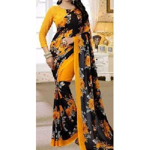 Yellow And Black Printed Georgette Sarees