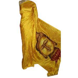Golden Buddha Print Pure Silk Sarees