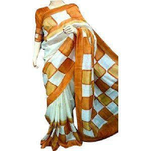 Golden Box Print Pure Silk Sarees