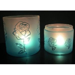Rose Flower Printed Glass Hurricanes