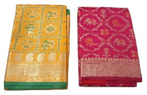 Golden Zari Work Silk Saree