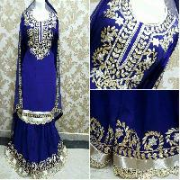 Hand Embroidery Suits With Pure Crepe , Silk And Banarsi