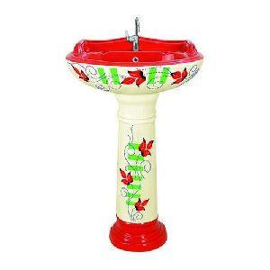 Ceramic Pedestal Printed Cream And Red Wash Basin