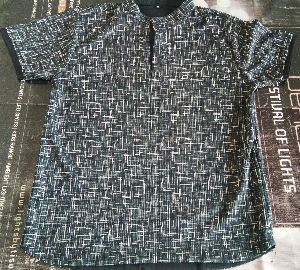Black Printed Half Collar T-shirt