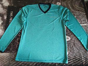 Sea  Green Polyester V Neck Full Sleeve T-shirt