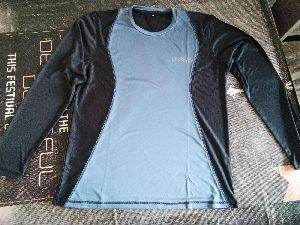 Grey And Black Polyester Round Neck Full Sleeve T-shirt