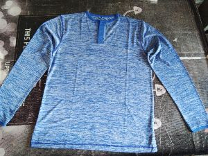 White And Blue Mixed Polyester Flackit Round Neck Full Sleeve T-shirt