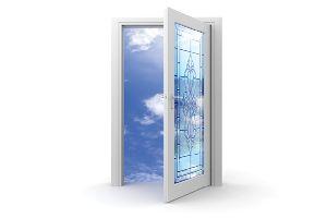 hinged door