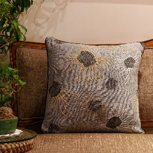 Printed And Hand Embroidered Cushion Cover