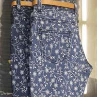 Girls Printed Denim Jeans
