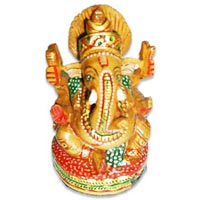 Wooden God Statue (wooden Sitting Ganesha)