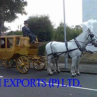 Royal Wooden Carved Horse Drawn Carriage