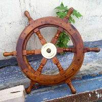 Brass Wood Ship Wheel