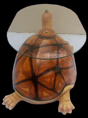 Glass Top Table With Turtle Base
