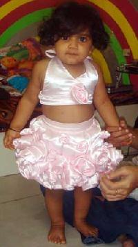 Girls Pink Roses Skirt & Top