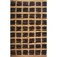 Flat Weave Suede Leather Rug-block