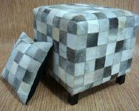 Leather Pouff, Cushion Cover