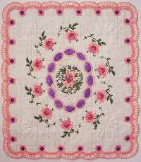 Chrysanthemum Cameo embroidered quilt