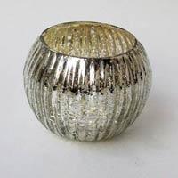 Ribber Mercury Glass Votive Holder