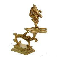 Lord Ganesha Oil Lamp Made Of Brass Stand For Worship