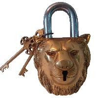 Lion Face Pad Lock of brass by Aakrati