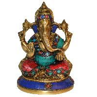 Lord Ganpati Religious Sculpture with stone turquoise work for Temple