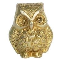 Metal Animal Figure Of Owl In Yellow Finish