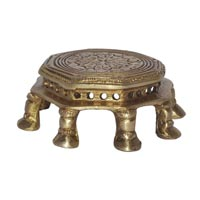 Metal Handicraft Brass Chowki For Home Temple