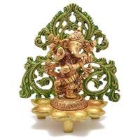 Religious Figure Of Ganesha Decorative Brass Statue With Farme