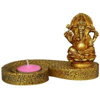 Sculpture Of Lord Ganesh With Candle Holder And Stand