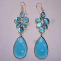 Elegant Sky Blue Glass Earrings